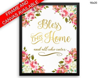 Home Prints  Bless Canvas Wall Art Home Framed Print Bless Wall Art Canvas Home House Art Bless House Print Home Watercolor Decor