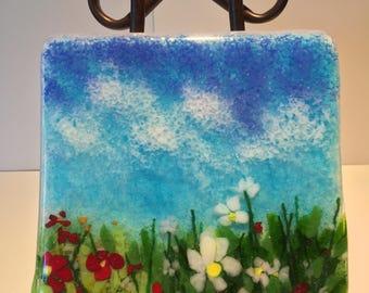 Wildflower Fused Glass Panel