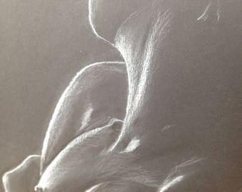 Naked erotic wife of upper body, signed white on black