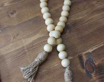 Raw Wood Bead Strands with Tassels
