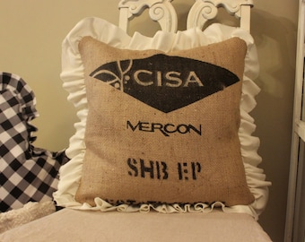 Burlap Grainsack Pillow with Frayed Ruffle Trim
