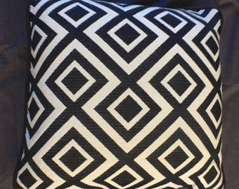 """Geometric Print Pillow Cover with black cording-Robert Allen Fabric-16""""x!6"""" finished size"""
