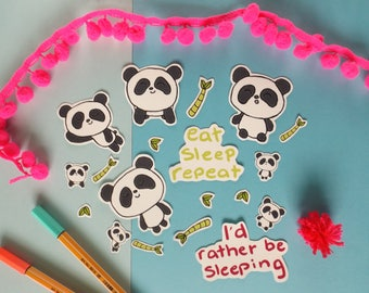 Panda Vinyl Sticker Pack, Set of 19 Vinyl Stickers, Planner Accessories, Planner Stickers
