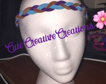 PurpleTurquoise swede rope head band
