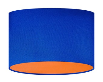 Blue Fabric Bi-colour Bespoke Handmade Lampshade Lining Of Your Choice Contemporary 20 30 40cm Shade Bright  Bold Colour Mix Match Statement