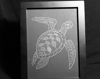 Sea Turtle Etched in Glass