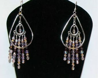 Pink and Purple Pastel Dangle Earrings