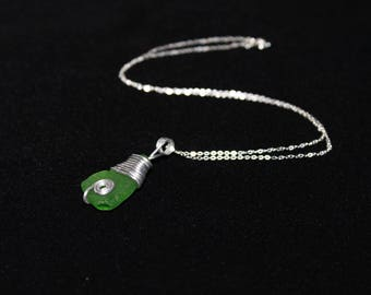 Green Swirls, Wire Wrapped Sea Glass Necklace with Silver Chain