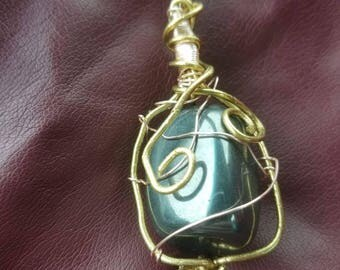 Gold colored wire wrapped Hematite