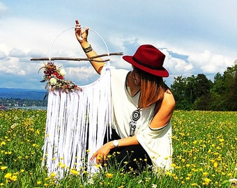 DreamCatcher - flowers - dream - catcher - floral - white - wood - feather - roses - Wallhanging - nature - stretch