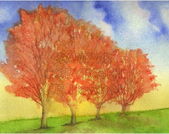 The Autumn Trees Watercolor Greeting Card by J. P. Haydock (Also available as a framable art print)