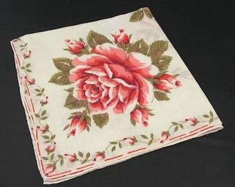 Women's Vintage Handkerchief - Red Roses, Pink, Khaki