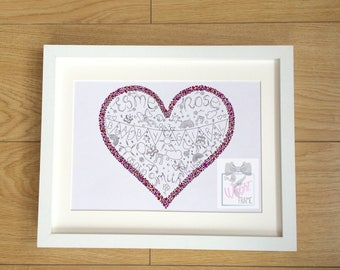 Baby gift, handrawn and personalised