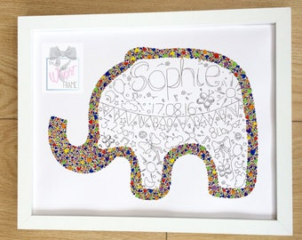 Rainbow baby gift, personalised and handrawn