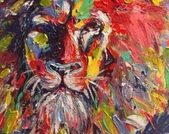 Abstract Acrylic Lion Painting