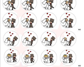 24 wedding cake muffin CupCake Topper decoration eating-paper wafers betrothal marriage edible paper cupcake toppers, wafer paper B1