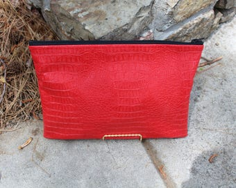 Red Faux Leather Gator Clutch