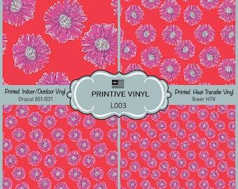 Lilly P Inspired Intense Floral Pattern Printed Vinyl, Siser HTV , Oracal 631-651, Indoor Vinyl, Outdoor Vinyl, Heat Transfer Vinyl- L003