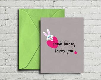 Some Bunny Loves You, Greeting Card, Instant Download, Geometric Print, Birthday, Anniversary, Cute, 5x7