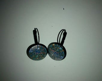 Dragonfly theme glass cabochon earrings