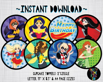 """DC Superhero Girls Cupcake Toppers Birthday Party 2"""" Labels Tags - INSTANT DOWNLOAD"""