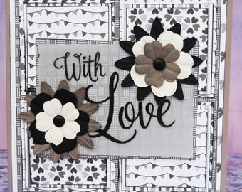Black & White Floral 'With Love' Handmade Greetings Card