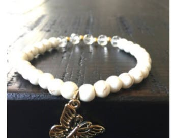 Howlite and crystal butterfly  bracelet