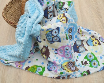 Minky Baby Blanket - Newborn Blanket - Newborn gift - Blue Baby Blanket - Personalized Boy Blanket - Double-sided blanket - Owls blanket
