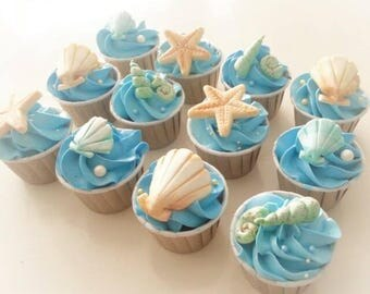 Seashell Beach Themed Fondant Cupcake / Cake Topper for Weddings