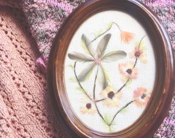 Vintage floral feather art
