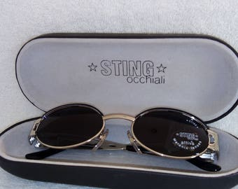 New STING Vintage Sunglasses Mod 4227 Col 514 Silver New Old Stock Authentic Sting Hard Case Included
