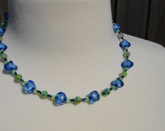 Edibly Blue and Green Beaded Necklace