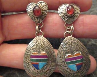 Native American OLD PAWN> Navajo made>Genuine Garnet>> Sterling Silver & Genuine Semi-Precious stones>> Long and Luscious