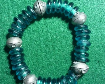 """You would love to own this beautiful handmade Blue & Silver 8"""" Bracelet"""