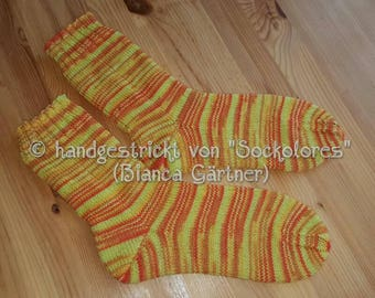 Hand knitted socks, knitted socks, wool socks, Gr. 38/39, 4 filamentous socks wool, socks, unique