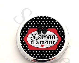 Pocket mirror idea gift for mother - mother of love red heart