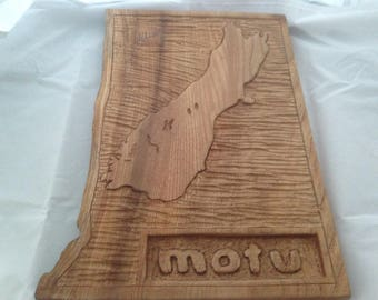Handcarved Map of the South Island of New Zealand in Wood