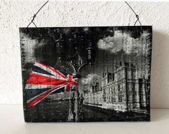 London wall decor wood, GB flag, british decor