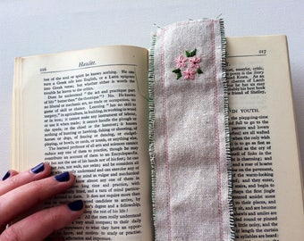 Hand embroidered flower bookmark pink