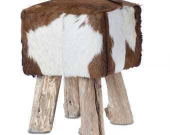Coat stools made of goat fur square with wooden feet, brown-white