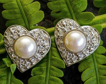 Vintage Clear Glass and Faux Pearl Heart-shaped Clip On Earrings