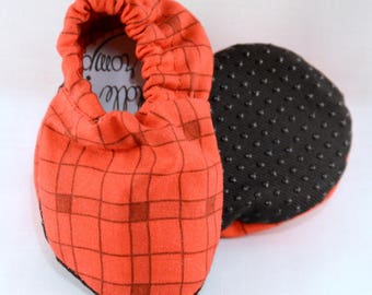 """4"""" Soft-Soled Baby Shoes - Red Squares - Adjustable Ankles - Non-Slip Soles"""