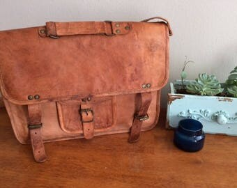 Hand-dyed & handmade leather messenger bag