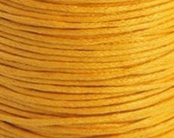 Yellow mustard waxed cotton cord 1mm x 20FT - Beading cord - Yellow cotton string - Waxed cord - Jewelry findings