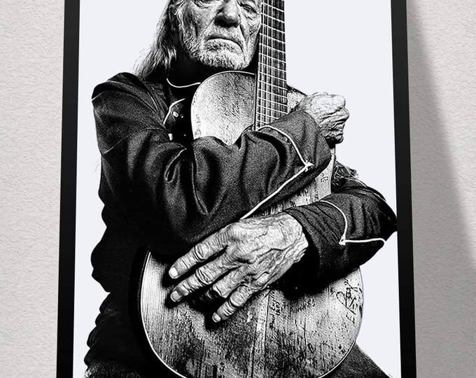 Framed Willie Hugs Guitar Nelson Print 11x17 Black Slim