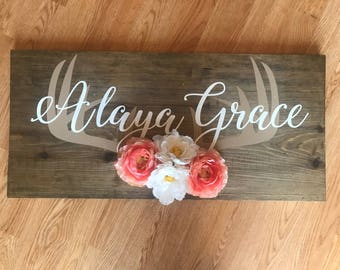 CUSTOM Floral Name Wood Sign with Antlers