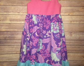 Girl's Purple Pink Floral Paisley Ruffle Twirl Dress with Pockets