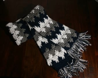 Navy Blue, Grey, and White Drop Stitch Scarf with Fringe