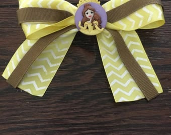 Belle bow, yellow and brown