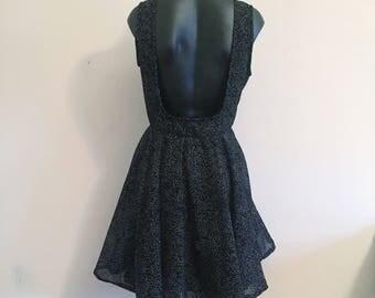 Low back betty dress. Low back dress. Bridesmaids dress. Party dress. Spotty dress. Black and white dress. Retro dress. Vintage dress.